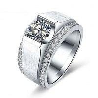 Модные украшения Ювелирные украшения Solitaire Для мужчин кольцо 2ct CZ камнях 925 серебро Обручение обручальное кольцо