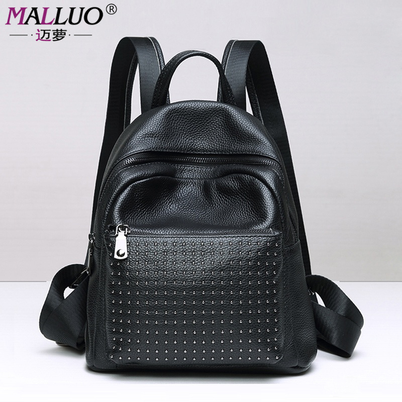 MALLUO Genuine Leather Backpacks High Quality Women Shoulder Bags Luxury Women Bags Designer Famous Brand Mochila Escolar New new 2016 famous brand women backpacks designer high quality pu leather backpack casual women shoulder bags hot sell crossbody