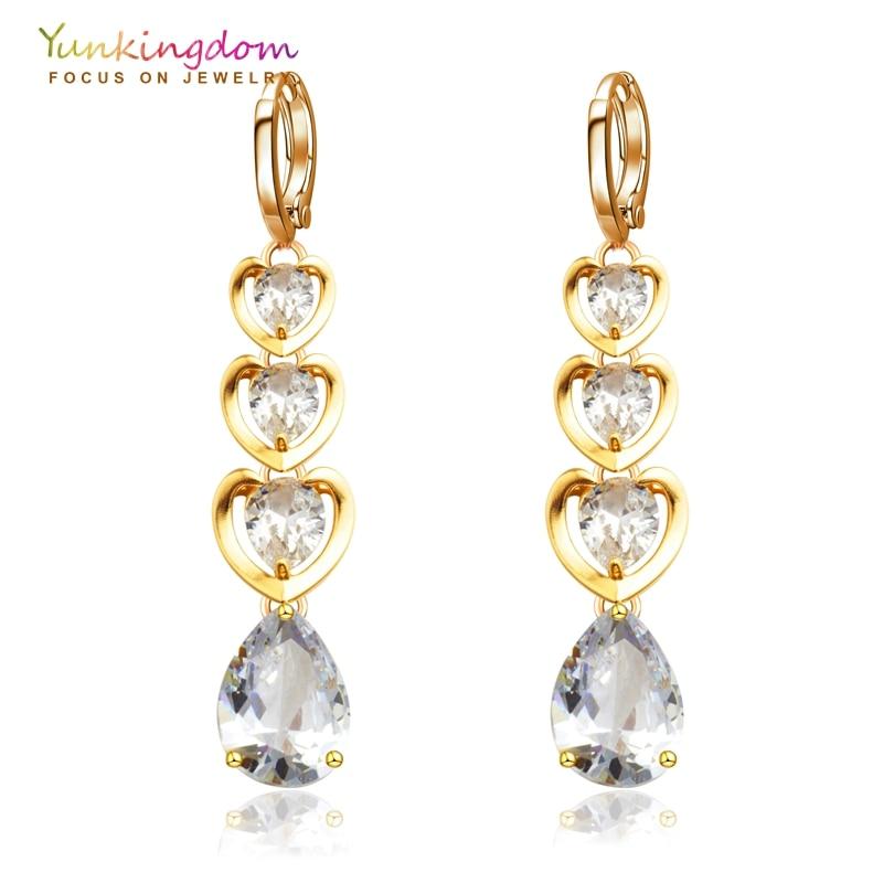 Tiga Hati Water Drop Panjang Menjuntai Drop Earrings untuk Wanita Shiny Kristal Cubic Zirconia Subang Mode Pernikahan Jewelry