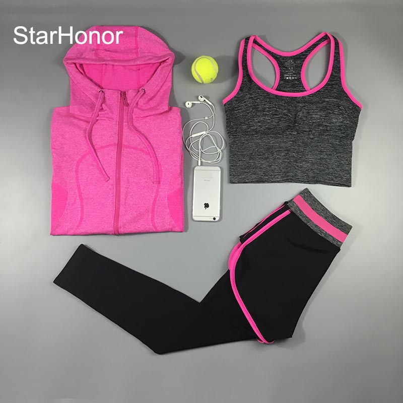 StarHonor 3 Pcs Women Quick Drying  Bra+Pants Yoga Sets Fitness Clothing Gym  Running Slim Leggings+Tops Sport Suit for Female polished chrome widespread waterfall spout bathroom tub faucet dual handles tap