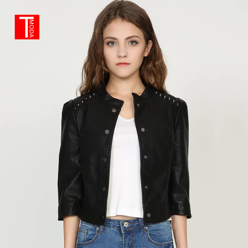 2018 Autumn Winter Women Faux   Leather   Jackets Coats Lady Pu Motorcycle Black Rivets Short Coat Streetwear Biker Outerwear