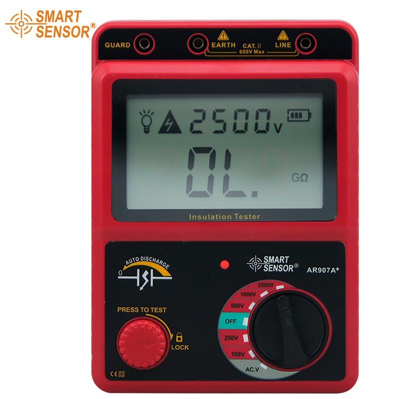 Smart Sensor AR907A+ 100-2500V Insulation Resistance Tester Digital Megohmmeter AC / DC Voltage Tester Ohm Meter