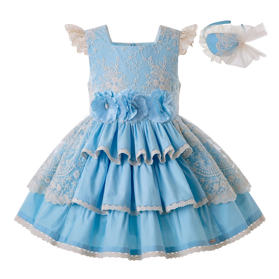 Pettigirl Summer Blue Girl Dress With Layered Lace Flower Dress For Wedding Party Dress Lovely Children
