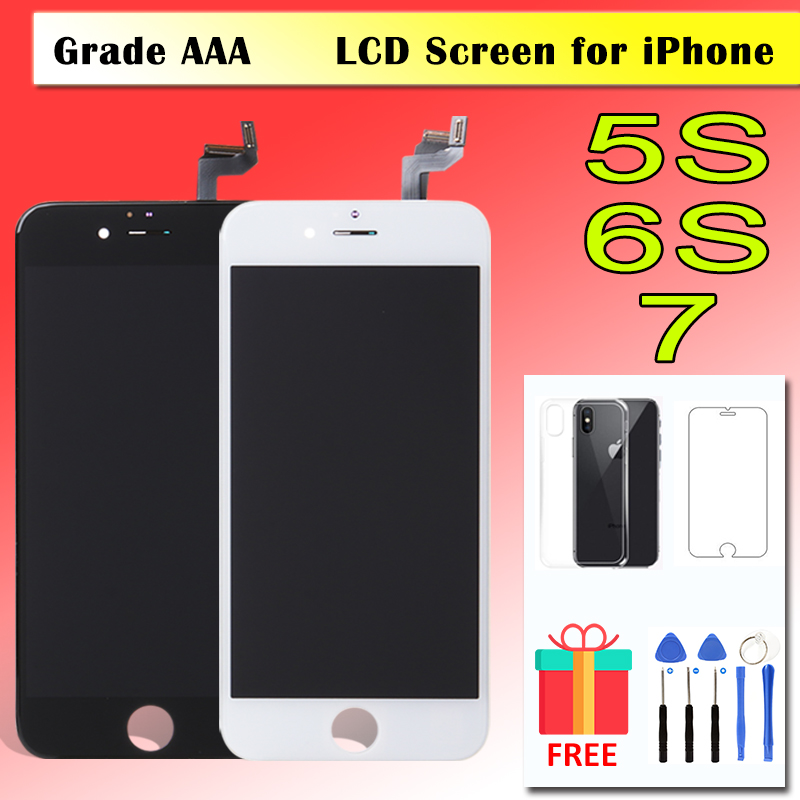 100% AAA LCD Screen for <font><b>iPhone</b></font> <font><b>5</b></font> 5S 6 6S 7 LCD Display 3D Touch Screen Digitizer Replacement Pantalla Full <font><b>Ecran</b></font> Black White image