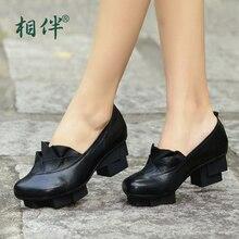 Vintage genuine leather women's heels shoes platform pumps woman medium heels black square toe shoes for women