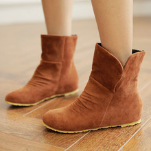 Big plus Large Size 34-43 2016 New Arrival Autumn Winter Sue Shoes For Women Ankle Around Toe Fashion Solid Flatform Boots