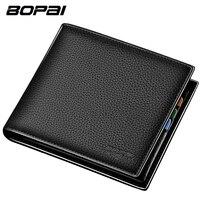BOPAI Brand 100 Genuine Leather Men Wallet Short Soft Standard Card Holder Designer Wallet Cowhide Leather