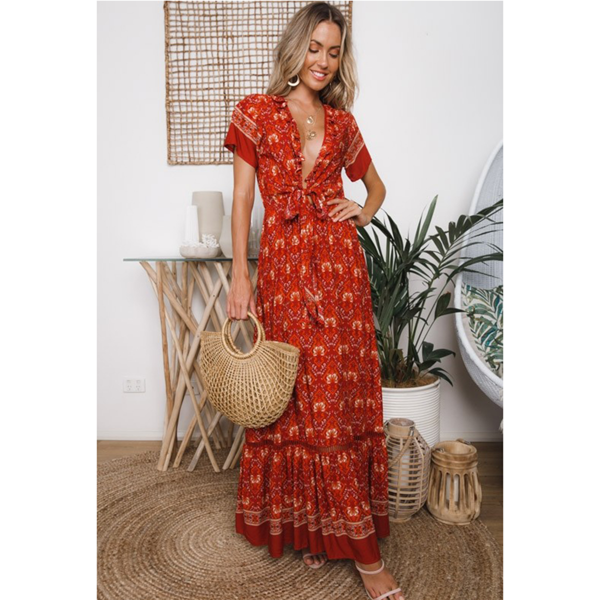 a7863a6f19 Detail Feedback Questions about Jastie Summer Floral Print Dress Elastic  waist Casual Maxi Dresses V Neck with Tie Sexy Women Dress Long Boho Beach  Dresses ...