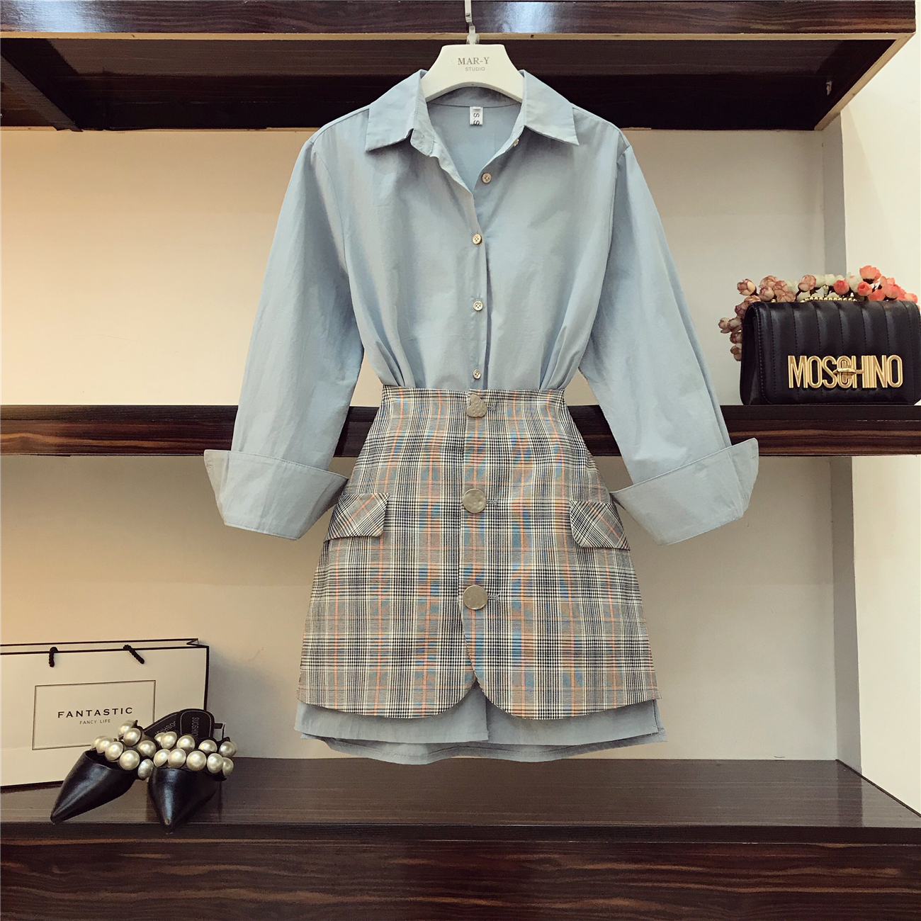 2018 New Fall Women's Lapel Long Sleeve Blue Long Shirt + High Waist Package Hip Plaid Skirt Two-piece Ladies OL Mini Skirts Set