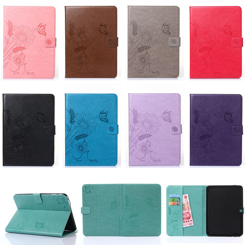 Fashion Flower Butterfly Ant Pattern Wallet Flip PU Leather Tablet Back Cover For Samsung GALAXY Tab 4 10.1 T530 Case Funda