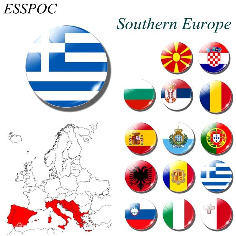 1PCS Fridge magnet National flag refrigerator magnets Albania Greece Greek Southern Europe countries Serbia Spanish Romanian(China)
