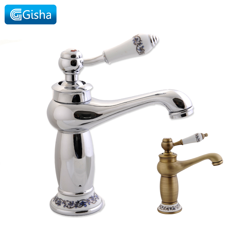цена на Gisha Bathroom Faucet Single Handle Basin Mixer Tap Deck Mount Waterfall Bathroom Chrome Faucets Cold And Hot Water Taps G1022