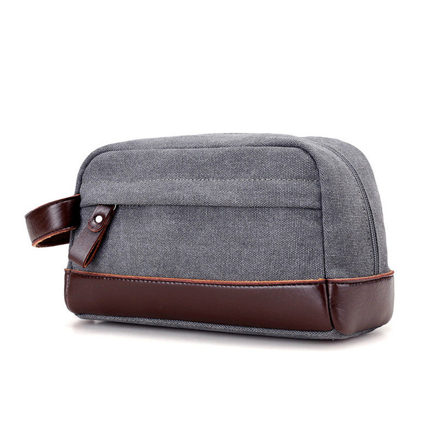 New Fashion Design Men Canvas   PU Leather Envelope Bags Casual Day Clutch  Bag Zipper Business Small Solid Hand Bags Male Pouch 64023245dd70f