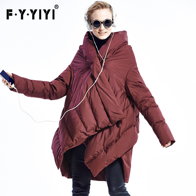 Womens down jacket 2016 New Winter Vintage Hooded 90% White duck down Fashion Down Coat Medium Long Outwear Large Size