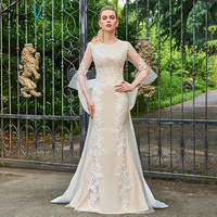 Dressv Long Champagne Scoop Neck Wedding Dress 3 4 Length Sleeves Mermaid Appliques Tulle Bowknot Princess