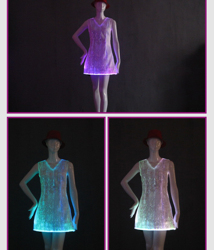 17 fiber optical LED dress women costume luminous clothing Carnival costume luminous dress free shipping 2