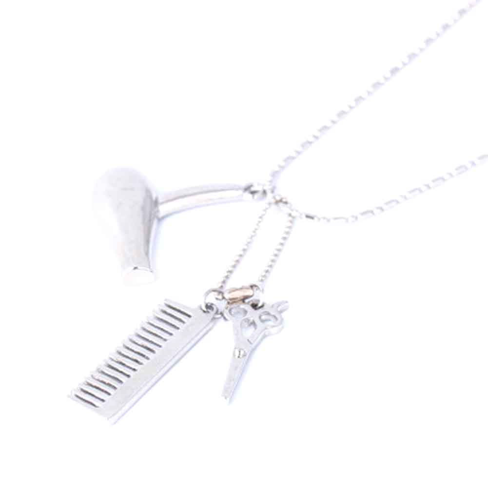 Fashion Hairdresser Tool Set Hair Dryer/Scissor/Comb Pendant Necklaces&keychain Alloy Material For Unisex