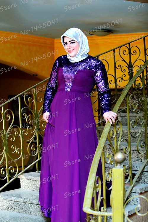 8854f7ada010 islamic clothing for women Mother Of The Bride Dress Plus Size Purple  Chiffon Sequines Long Sleeve Kaftan Abaya robe de priere-in Evening Dresses  from ...