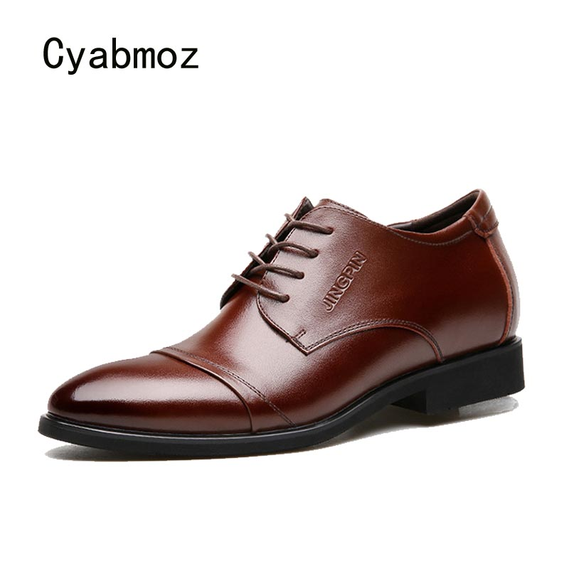 Cyabmoz Men Height increasing Business Dress shoes 6cm wedding Formal Shoes Lace up Party Cow Split Leather Elevator Man Shoes hight end full grain leather men lace up high heel shoes man thick heel black formal dress height increasing heighten shoes