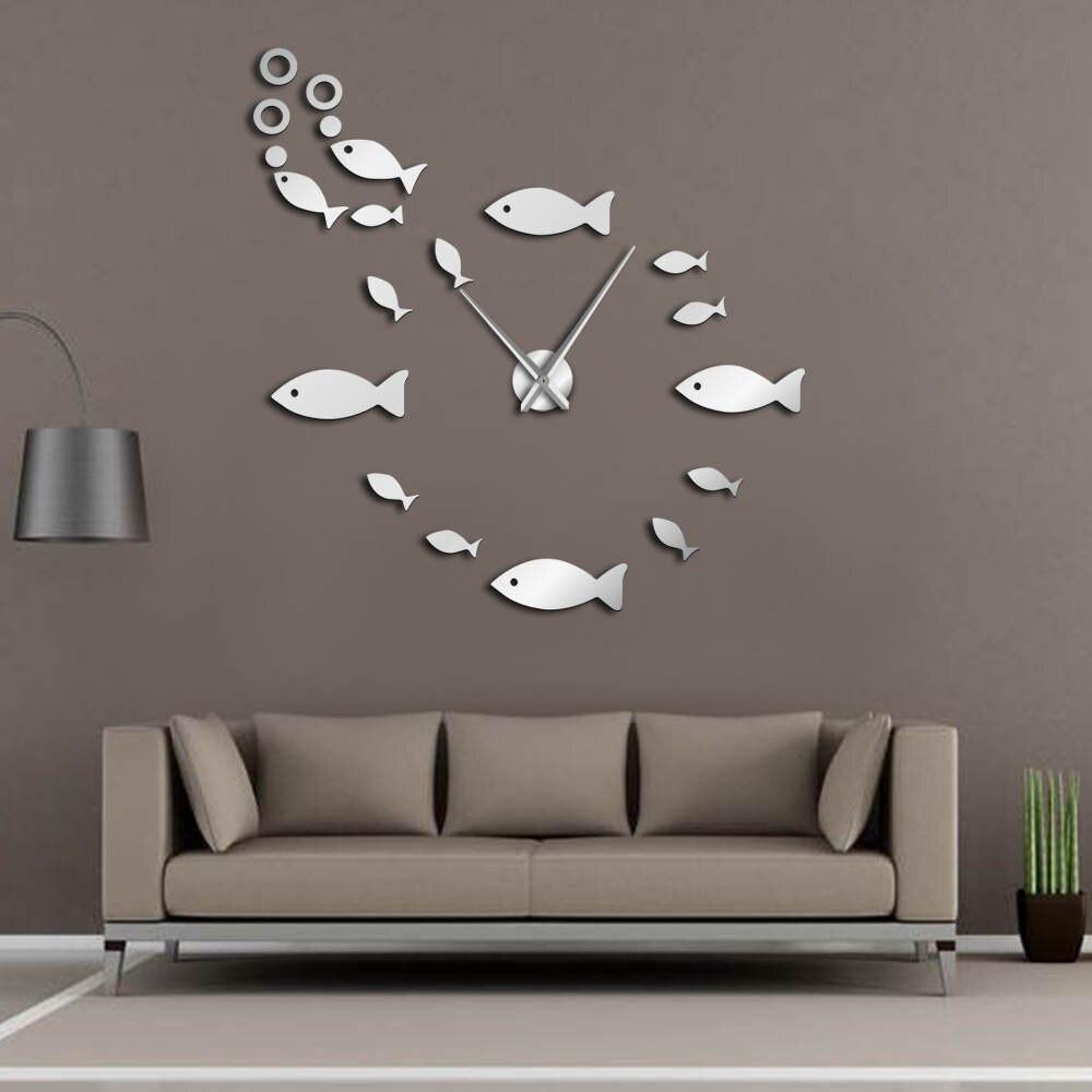 Fish With Bubble DIY Giant Wall Clock Mirror Effect Wall Art Home Decor Aquarium Decoration Frameless Big Needle Clock Watch