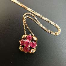 Ruby Pendant Necklace with Diamond Encrusted 1.452ct+0.02ct 18K Rose Gold Gemstone Fine Jewelry for Women