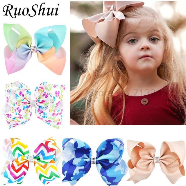 8 inch Rhinestone Big Large Grosgrain Ribbon Hair Bow Alligator Clips Barrette Bowknot Headwear Children Girls Hair Accessories