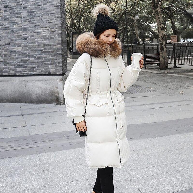 Big Real Raccoon Fur Winter Coat Women Thicken Parka 2018 Women's Slim Long Winter Jacket Women Ladies Casual Parka For Female