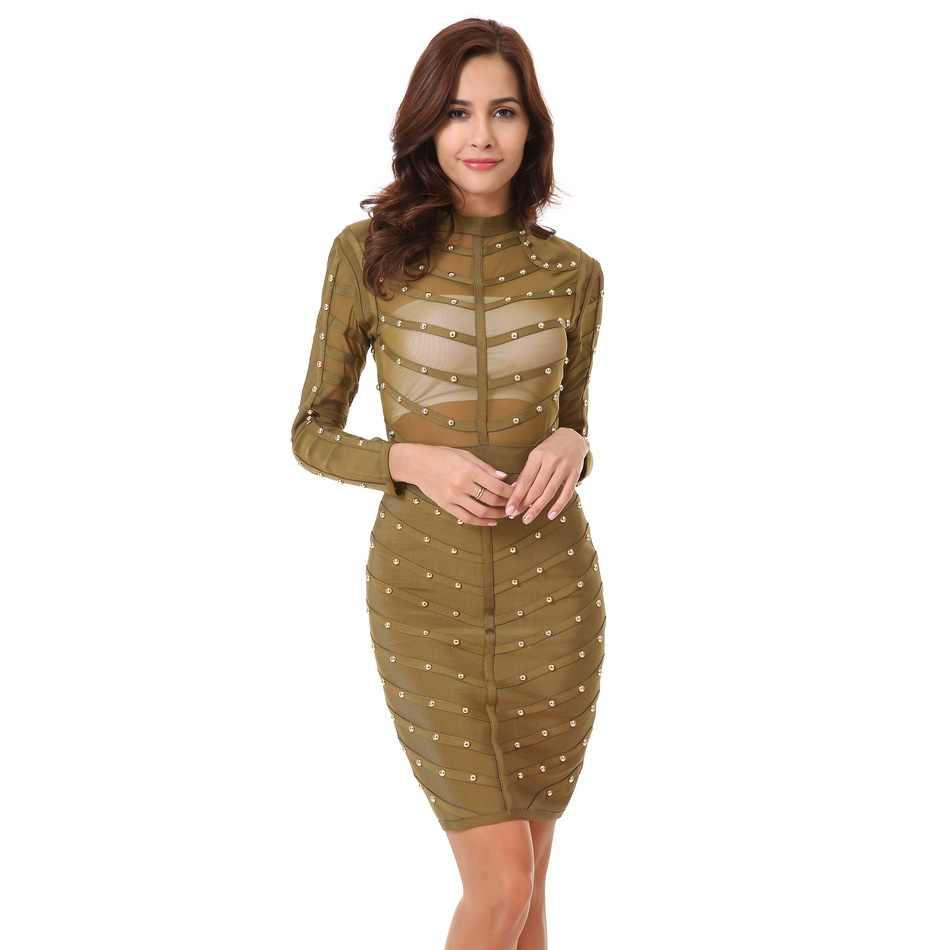 34f92f9c8e2f ... CIEMIILI 2019 Beading Dress Women New Evening Party Bandage Dress  Stretch Mesh Knee-length Long ...