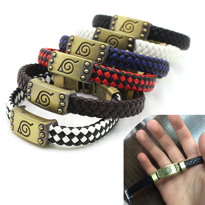 Naruto Knit Bracelet Cosplay Props Alloy Punk Women Men Anime Accessories Konoha Logo Bracelets