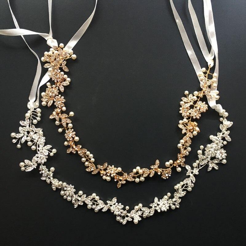Hecho a mano magnífico Rhintstones cristales perlas flor hoja boda Tiara pelo Vine Bridal Headband pelo accesorios damas