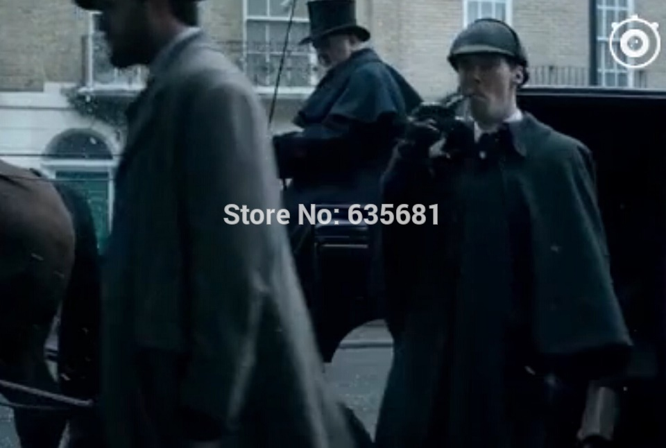 Cos Sherlock: The Abominable Bride Movie 2016 Long Trench Cloak Cape Cosplay Costume Party Happy Men Women Winter