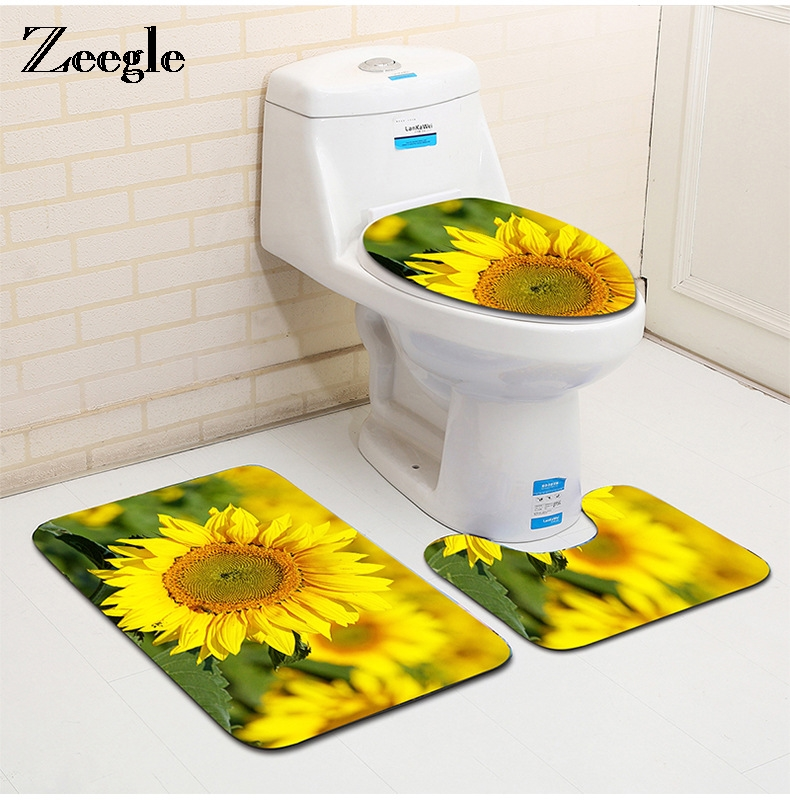 Zeegle Scenic Pattern 3Pcs/set Bathroom Mat Carpet Toilet Rug Non-Slip Barthroom Floor Mats Toilet Cover For Bathroom Decoration
