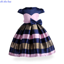 Girl Clothes Dress Bow Decoration Baby Birthday Party Vestidos Children's Wear 3-10 Y Child Quality Clothing 2019 Hot Sale summer girl clothes new strap dress rose print children s wear vestidos baby 4 11 y children quality clothing 2019 hot sale