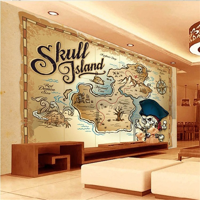 Beibehang papel de parede 3d charts pirate treasure map for Child mural wallpaper