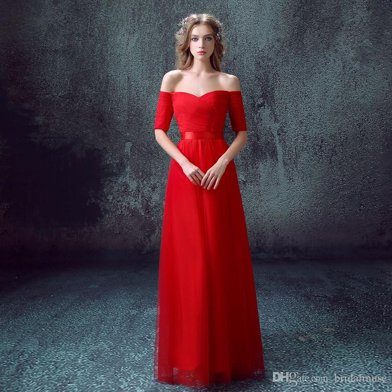 be471b442e Red Long Evening Dress Sweetheart Neck Off The Shoulder With Short Sleeves  Celebrity Party Formal Prom Dressses