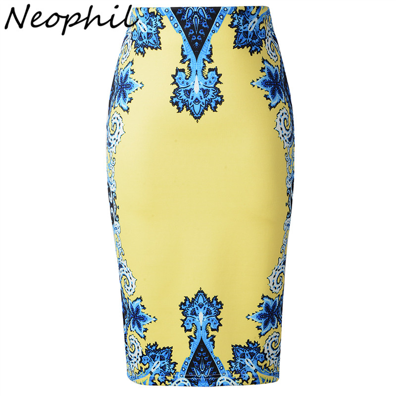 Neophil 2019 Women High Waist Royal Pencil Skirts Midi Slim Ethnic Floral Print