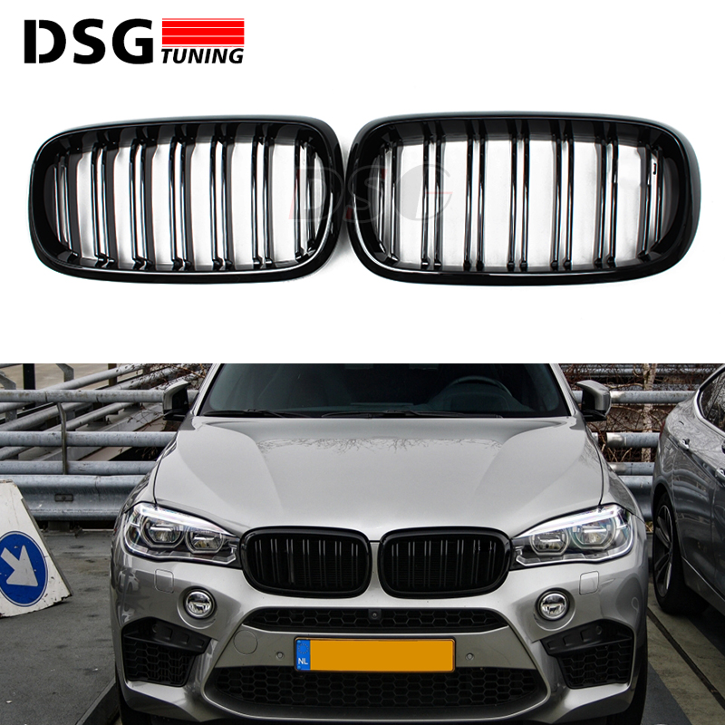 X5 F15 X6 F16 ABS Gloss Black Grill For BMW X5 X6 F15 F16 Front Bumper Grille Kidney Mesh x5 x6 m performance sport design m color front grill dual slat kidney custom auto grille fit for bmw 2015 2016 f15 f16 suv