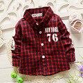 Novo 2015 baby boy roupas da moda roupa dos miúdos meninos xadrez clássico camisas 100% algodão criança desgaste nome da marca das crianças camisa