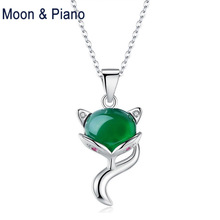 925 Sterling Silver Natural  Green Chalcedony Inlaid Fox Pendant Link Chain  Necklace Trendy Party Jewelry for Women sterling silver inlaid green chalcedony ring silver retro female food