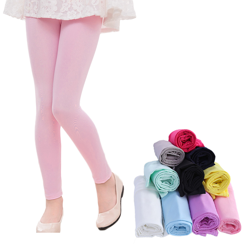 Girl Pants Spring Summer Candy Color Girls Shiny Leggings Skinny Pants 3-14Y Children Kids Elastic Leggings Solid Color Trousers 1