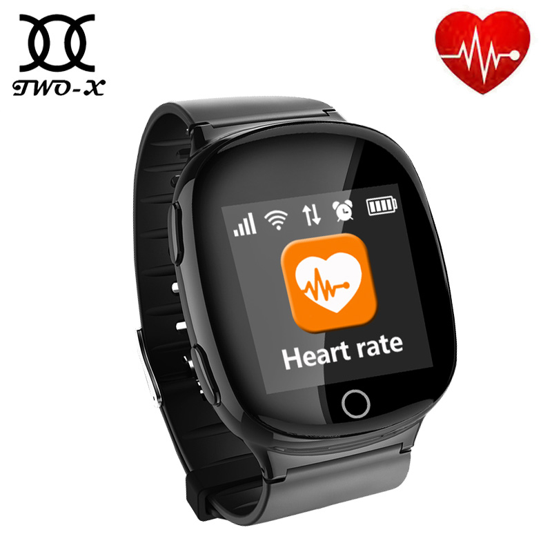 цена на D100 Elderly Heart monitor Smart Watch With fall-down alarm function Anti-lost Gps+Lbs+Wifi Tracking for iOS Android pk D99 Q100