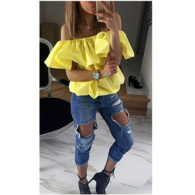 Sexy Women Blouses  off  the Shoulder Elastic Slash Neck Casual Tops