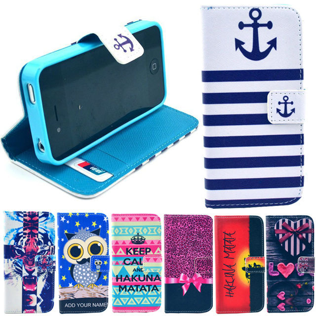 iPhone 4 4S Wallet Flip Case Anchor Tiger Owl Animals Cartoon Style Capa Para Apple iPhone4S Celular Leather Stand Cover - Yours Mobile Phone Accessories SuperStore store