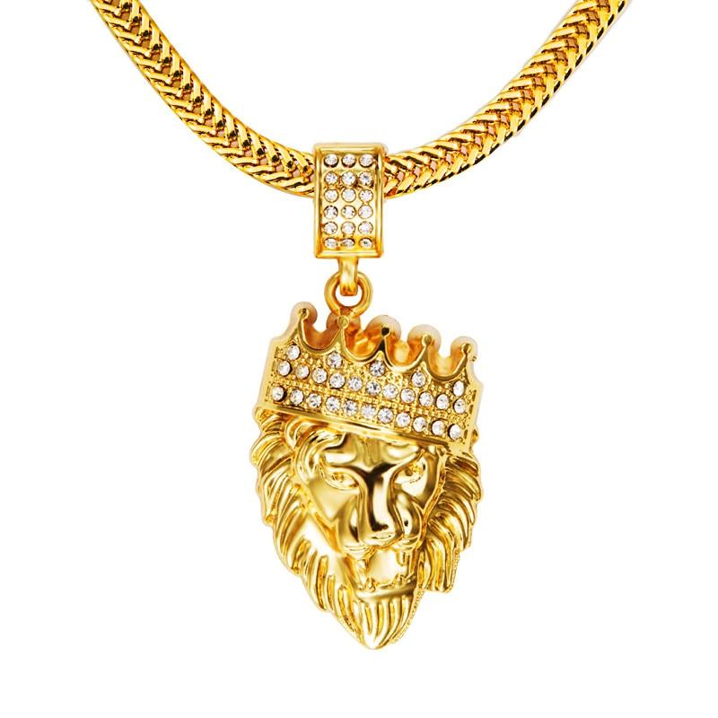 Prix pour NYUK pour Hommes Hip Hop Bijoux Iced Out Or De Mode Bling Lion tête Pendentif Hommes Collier Or Rempli Pour Hommes Femmes Cadeau Présent