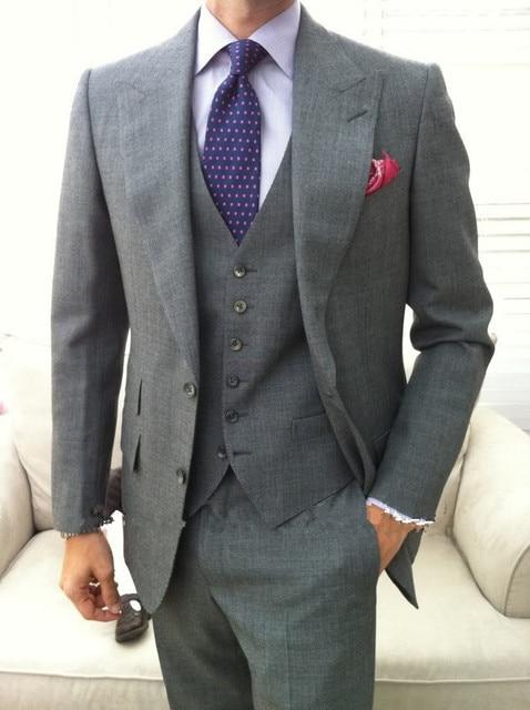 e9b3c54ff1 Slim Fit Custom Made To Measure men suit,Bespoke Grey groom wedding suit  with wide lapel,Tailored tuxedo(jacket+pants+Vest+tie)