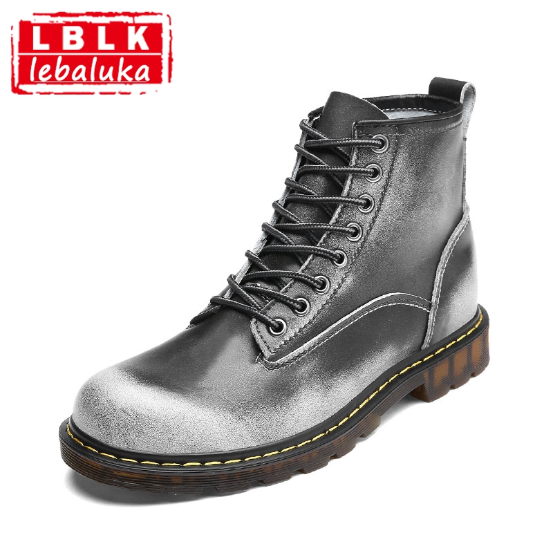 LebaLuka Real Leather Men Ankle Boots Vintage Round Toe Lace Up Fur Warm Boots Winter Fashion Shoes Male Footwear Size 38-44 xiaguocai new arrival real leather casual shoes men boots with fur warm men winter shoes fashion lace up flats ankle boots h599