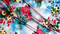 strech Satin Silk Fabric flowers printed 19 moomin tela por metro textile fabric meter fabrics textile tissu japonais material