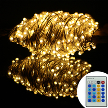 Remote Control 164Ft 50M Christmas Led String Lights 500LED Silver Wire Starry String Lights For Christmas Parties Decoration