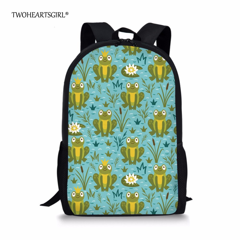 School Bags Twoheartsgirl Novelty Frog Print School Bag For Kids Cute Teenager Girls School Book Bag Backpack Iguana Children Bags Volume Large