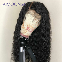 250 Плотность фронта шнурка человеческих волос парики волна воды парик предварительно сорвал с ребенком для женщин индийские волосы remy воло